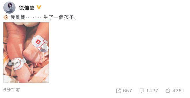 36歲歌手徐佳瑩發文官宣產子 徐佳瑩稱我剛剛生了一個孩子