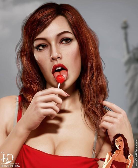 《GTA4》封面女郎Lola Del Rio高清3D重制 棒棒糖女孩极具魅惑