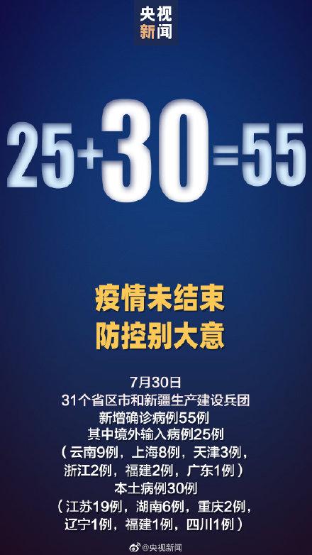 31省区市新增30例本土确诊分布6省市 其中江苏新增19例本土确诊