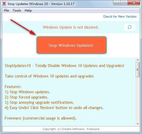 StopUpdates10(win10自动更新关闭工具)下载