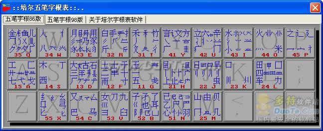 培尔五笔字根表软件下载