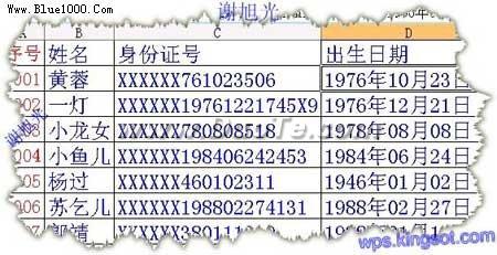 用WPS表格提取身份证个人信息