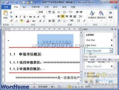 """在Word2010""""样式""""窗口中选择样式"""
