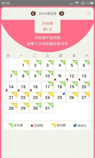 月经期安全期日历软件截图0