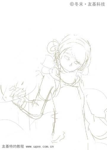 PS鼠绘可爱的围红围巾的小女孩