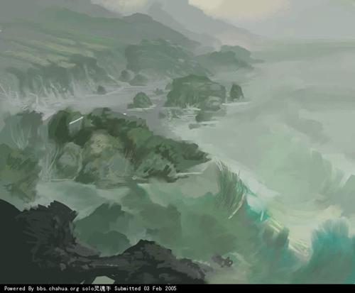 Painter手绘夜色中的海浪