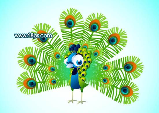Photoshop鼠绘一只可爱的卡通孔雀