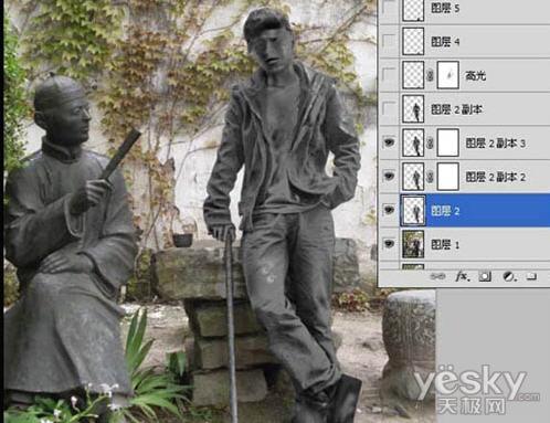 Photoshop把人物照片转为金属雕像