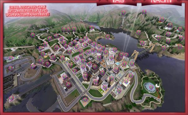 《模拟人生3:夜店人生》全城地点介绍图