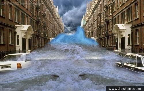 photoshop照片合成教程-洪水来袭