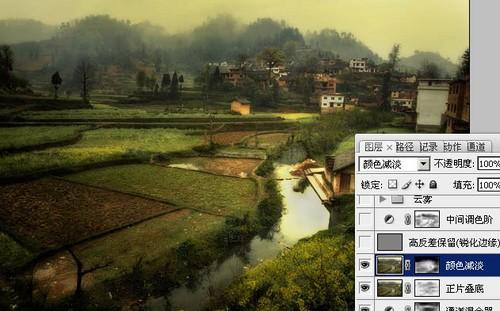 PS调色-田园风景变油画