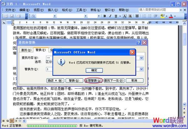 Word2003查找替换功能的使用