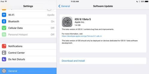 ios9.1 beta5更新了什么