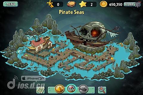 《植物大战僵尸2》海盗港湾第1天通关攻略