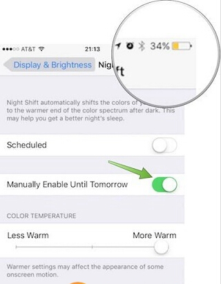 iOS9.3夜间模式和低电量怎么同时打开